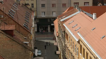 cityspace : Beautiful view on red roofs and narrow street of Zagreb, tourism in Croatia Stock Footage