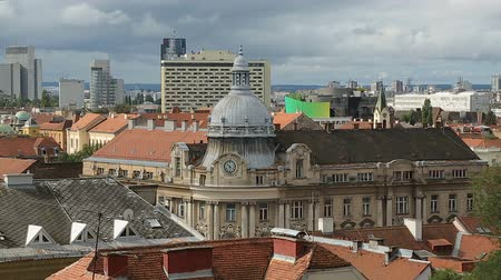 cityspace : Beautiful view on downtown of Zagreb, panorama of ancient architecture, building