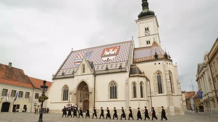 nákrčník : The Cravat Regiment marching near Saint Marks church, Zagreb guard of honour