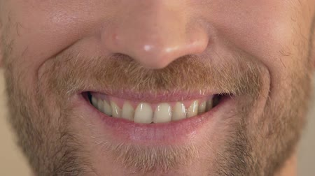 expressão facial : Man with beard smiling into camera, close-up of face, happiness and joy, emotion