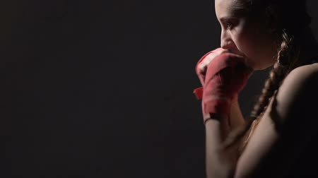 self motivated : Motivated young woman boxing in fitness club, power and persistence, Muay Thai Stock Footage