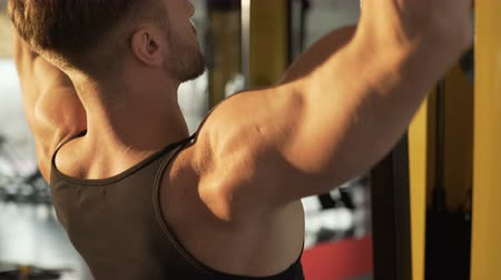 vigorous : Hunky man doing pull-down exercise in gym with sunlight falling onto his back