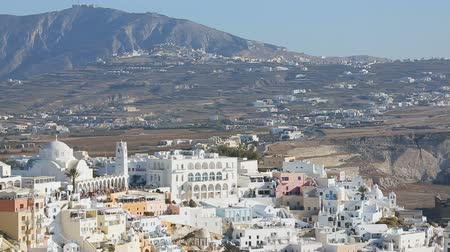 Эгейский : Nice Fira village situated on volcanic caldera of Santorini island in Cyclades
