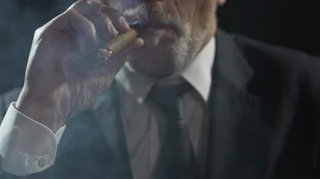 cygaro : Overbearing oligarch enjoying cigar smoking, authority and power, slowmotion Wideo