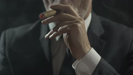 cygaro : Rich male in suit enjoying process of smoking expensive cigar, slow-motion Wideo