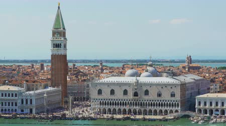 architectural heritage : Stunning view of Doges Palace and tower, sightseeing tour to Venice, tourism