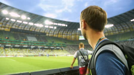 terrain football : Fan de football masculin regarder match de tribune au stade, soutenir l'équipe nationale