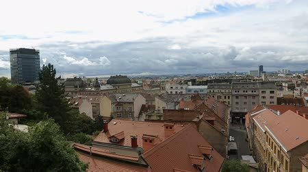 cityspace : Breathtaking view on the rooftops and narrow streets of beautiful Zagreb city