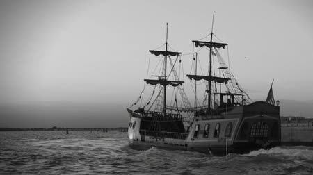 frigate : Retro recording of first trading round world expedition sailing on wooden ship