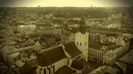 assumption : Retro video recording of medieval Roman Catholic cathedral in Lviv, Ukraine