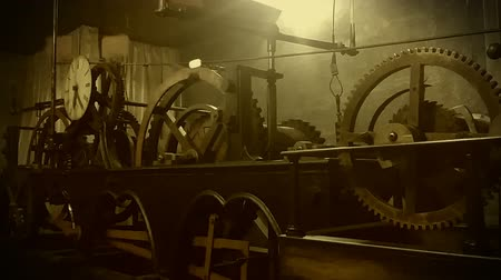 clockface : Archival video of mechanical clock in operation, invention of timekeeping device