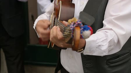 типичный : Close-up of male musician playing guitar on the street, music performance Стоковые видеозаписи