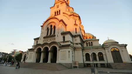 nevsky : Alexander Nevsky Cathedral Church in Sofia Bulgaria, place of interest, landmark Stock Footage