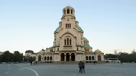 nevsky : Front facade of Alexander Nevsky Cathedral Church in Sofia, Bulgaria, landmark Stock Footage