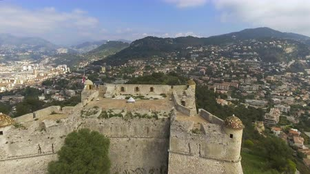 menton : Aerial view of stone wall of ancient bastion in port of Menton, French riviera