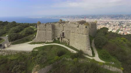 menton : Aerial view of ancient fortress of Menton situated on French Riviera, Cote dAzur Stock Footage
