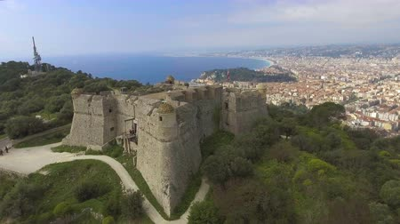 menton : Top view of famous fortress called Pearl of France, Alpes-Maritimes department Stock Footage