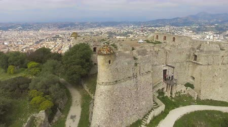 fortificação : Quadrocopter flying around old fortress of Menton, shooting breathtaking view