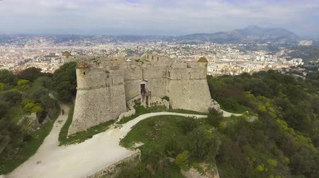 alpes : Aerial view of Mediterranean sea and old fortress in Provence Alpes Cote dAzur Stock Footage
