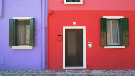burano : Amazing colorful buildings on Burano island, purple and red houses in Venice