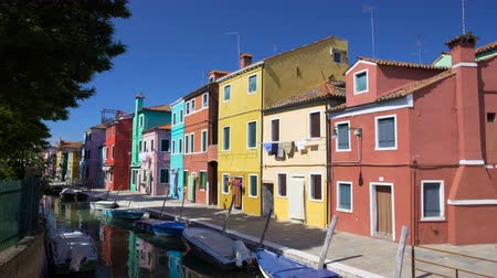 burano : Wonderful view on multicolored residential buildings and Venetian canal, Burano