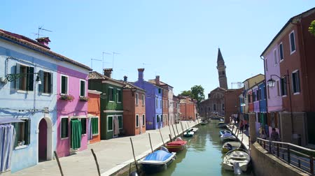 burano : Panorama of amazing street with colorful houses and canal, tourism, architecture Stock Footage