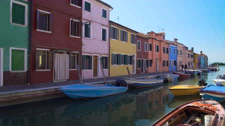 burano : Panoramic view on Venetian canal and doll-like colorful houses, Burano, Venice
