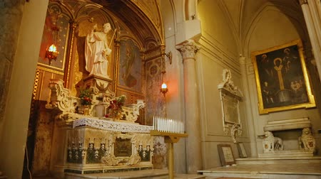 assumption : Beautiful view of interior towards the altar of Saint Januarius, monument Stock Footage
