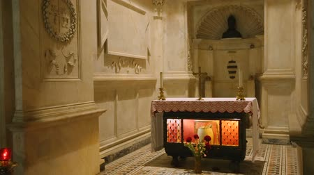 crypt : Relics of Saint Januarius in crypt of the Naples cathedral, spirituality, faith