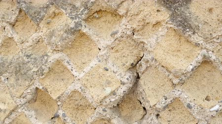 kazılmış : Ancient wall with diamond-like shaped design on street of Pompeii city, Italy Stok Video