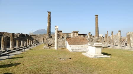 millennium : Fenced territory of Apollo Temple in Pompeii city with Apollo statue, sequence