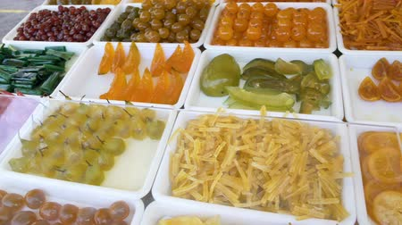 kandovaný : Showcase with candied fruit beckoning customers with its sweetness and colors