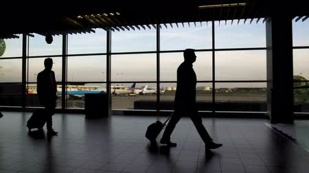 tourist silhouette : Men and women with bags walking at airport terminal, traveling and vacation Stock Footage