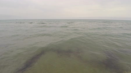 dirty beach : Aerial drone footage video of dirty sea water washes up a sandy shore, pollution