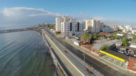 kypr : Beautiful aerial view along embankment in Larnaca city, Cyprus, landscape Dostupné videozáznamy