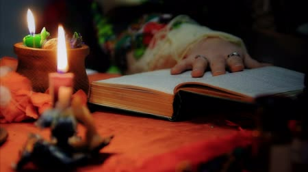 shaman : Divination, witch reading spell to luck, magic candles lightning at home