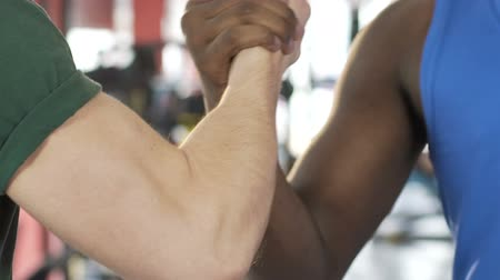 két : African American and caucasian male friends firmly shaking hands, support