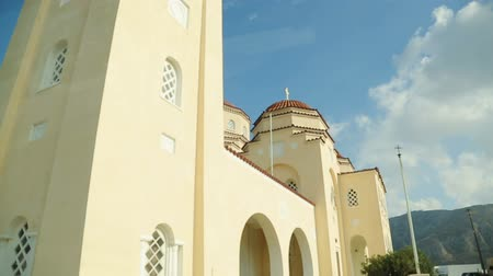 foothills : View from car window at Church of Panagia Episkopi in small village Mesa Gonia Stock Footage
