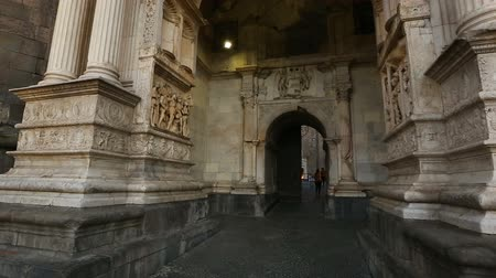 triumphal arch : Beautiful medieval exterior of the New Castle, white marble arch with sculptures
