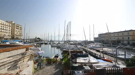neapol : Wonderful view of port and parked yachts, water transport in Naples, Italy