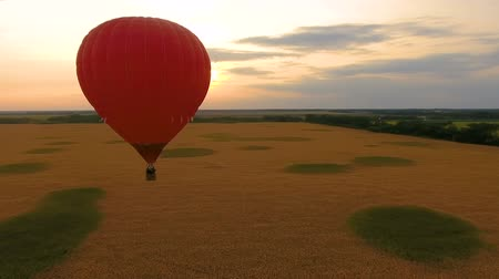 umutlu : Red hot air balloon floating over field at sunset, romantic anniversary, love