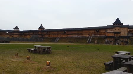 retro revival : Inner yard of wooden fortifying construction, historical site, open-air museum