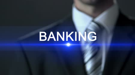 forma : Banking, businessman in suit touching screen, financial sector, business concept