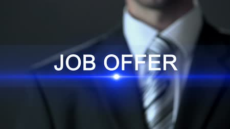 прокат : Job offer, businessman in suit pressing button in screen, new career, employment Стоковые видеозаписи