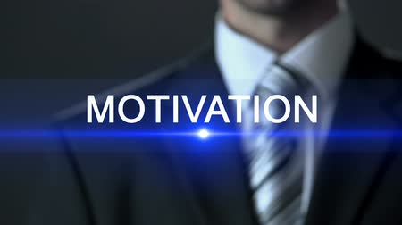 potencjał : Motivation, businessman wearing suit touching screen, inspirational workshop Wideo