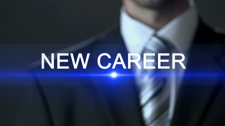 olasılık : New career, male wearing official suit touching screen, employment, professional Stok Video