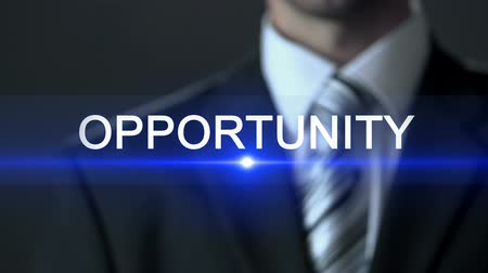 doorway : Opportunity, man in business suit touching screen, future possibility, chance