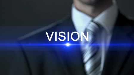 fejleszt : Vision, male in business suit touching screen, development strategy, future Stock mozgókép