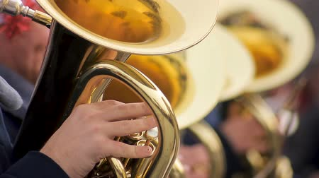 desfile : Experienced men from brass band diligently playing on tubes, festive mood Stock Footage