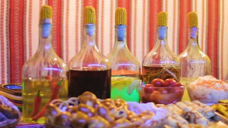 beckoning : Variety of treats decorated at restaurant of traditional Ukrainian cuisine Stock Footage